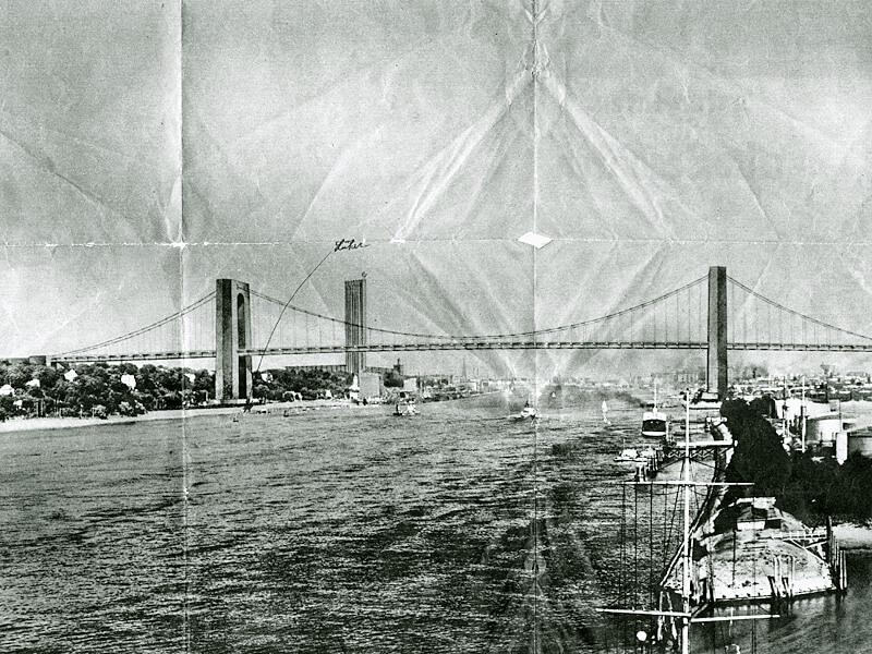 Geplante Elbhochbrücke über Övelgönne (Fotomontage von 1937). Im Hintergrund ist das ebenfalls geplante Gauverwaltungshochhaus zu erkennen