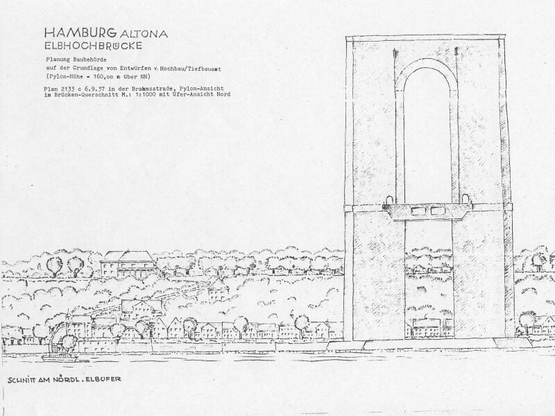 Skizze des nördlichen Brückenpfeilers in Övelgönne