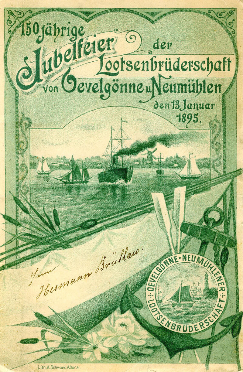 Speisekarte der 150jährigen Jubelfeier der Lotsenbrüderschaft von Övelgönne und Neumühlen